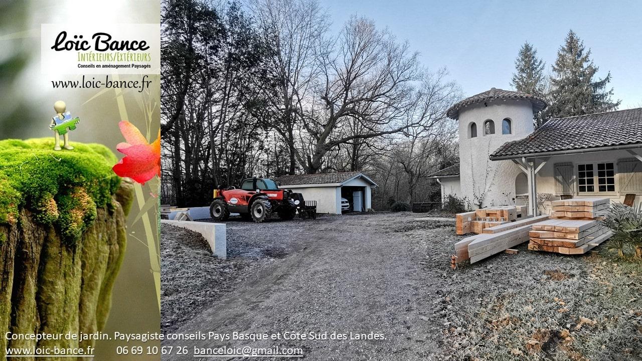 Mise en attente de la structure carport usiné en atelier.