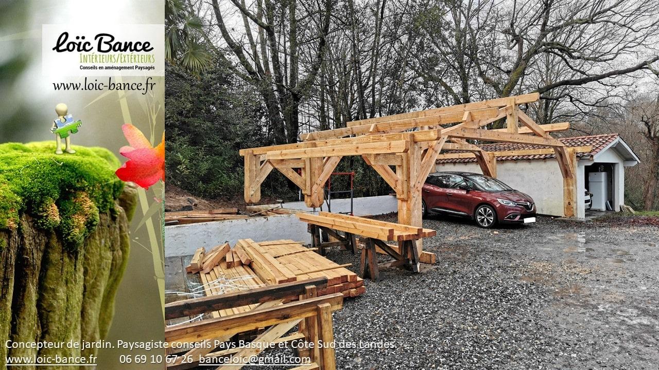 Carport voiture : Montage de la structure.